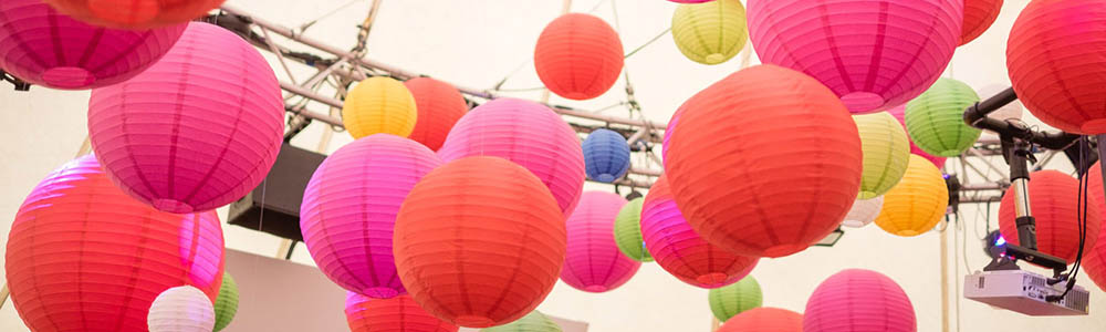 Multi-coloured lanterns